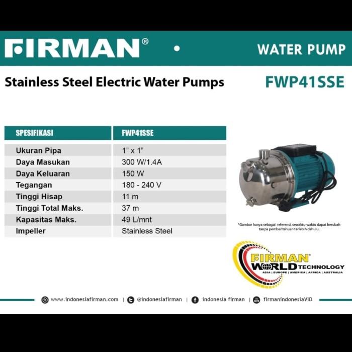 Jual pompa air semi jet stainless steel firman fwp 41 ss ...