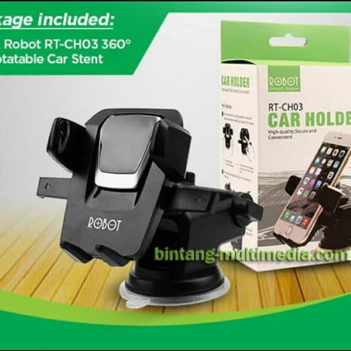 Foto Produk HOLDER HP MOBIL ROBOT RT-CH03 - CAR HOLDER DASHBOAD - HOLDER GPS dari BenuaCell