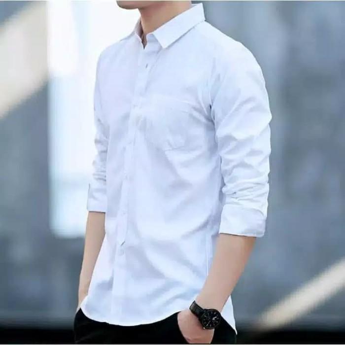 Foto Produk Baju Kemeja Lengan Panjang Pria putih Polos Slimfit dari azam shopp