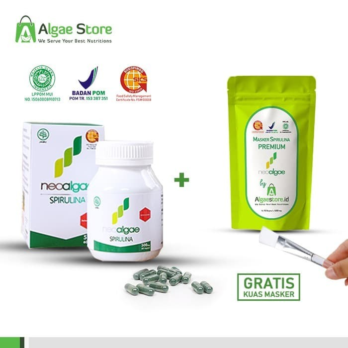 Foto Produk PAKET HEMAT Suplemen NEOALGAE Spirulina 60 Kapsul + 1 Botol isi 10 dari Algae Store