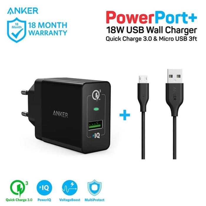 Foto Produk Anker PowerPort+ 1 Quick Charge 3.0 + Micro USB 3ft - Black [B2013L11] dari Anker Official Bandung