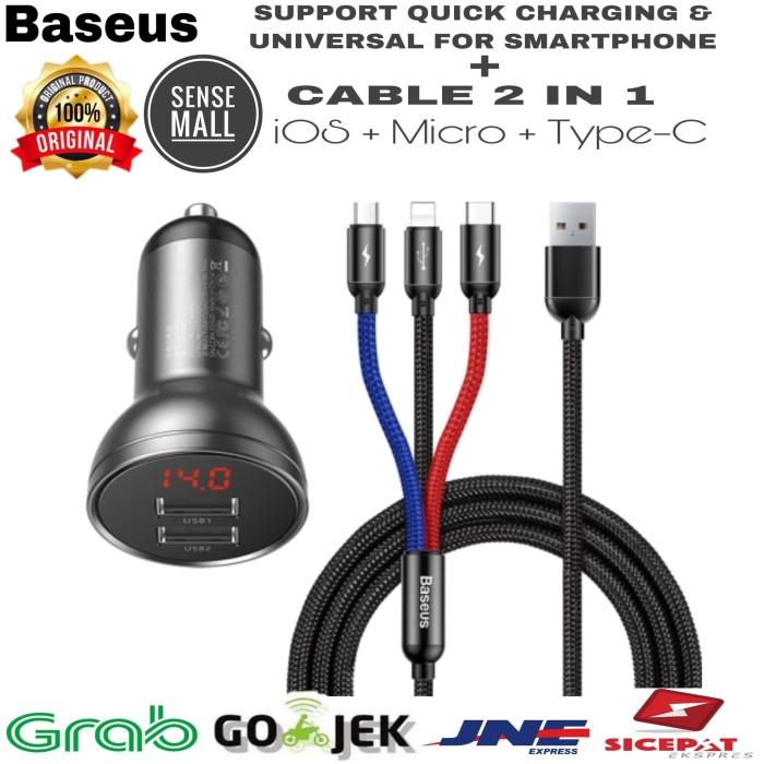 Foto Produk BASEUS CAR CHARGER DIGITAL DISPLAY DUAL USB 4.8A + CABLE 3 IN 1 1.2M - Hitam dari Sense mall