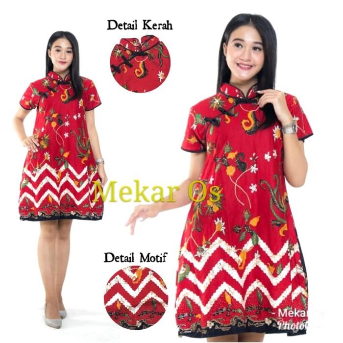 Foto Produk Dress Batik Cheongsam Baju Imlek Katun (Ready ld100cm dan ld110cm) - Biru, Standar dari Mekar OS