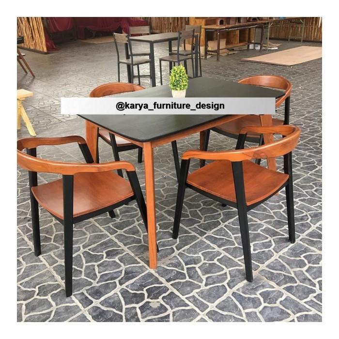 Jual Meja Makan Minimalis Set 4 Kursi Makan Cafe Kayu Jati Kab Jepara Karya Furniture Design Tokopedia