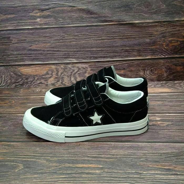 converse one star velcro black white