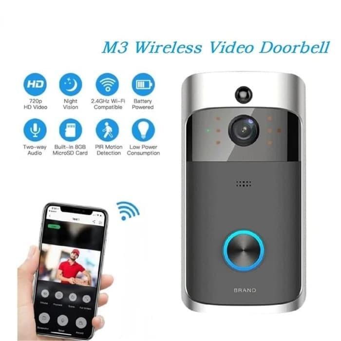Foto Produk Bell Pintu Rumah Kamera CCTV M3 Video Doorbell WiFi Camera Wireless dari Muhcom Store