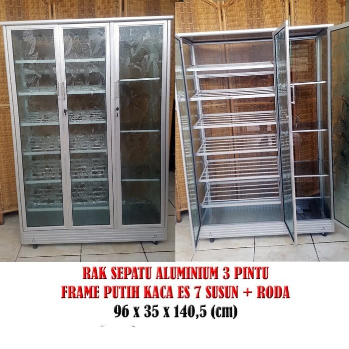 Jual Rak Sepatu Aluminium 3 Pintu Frame Putih Kaca Es 7 Susun