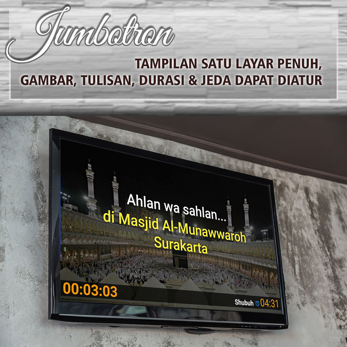 Foto Produk Software Jadwal sholat masjid digital menggunakan TV LED Versi Pro - Edisi Pro dari Jasma Digital