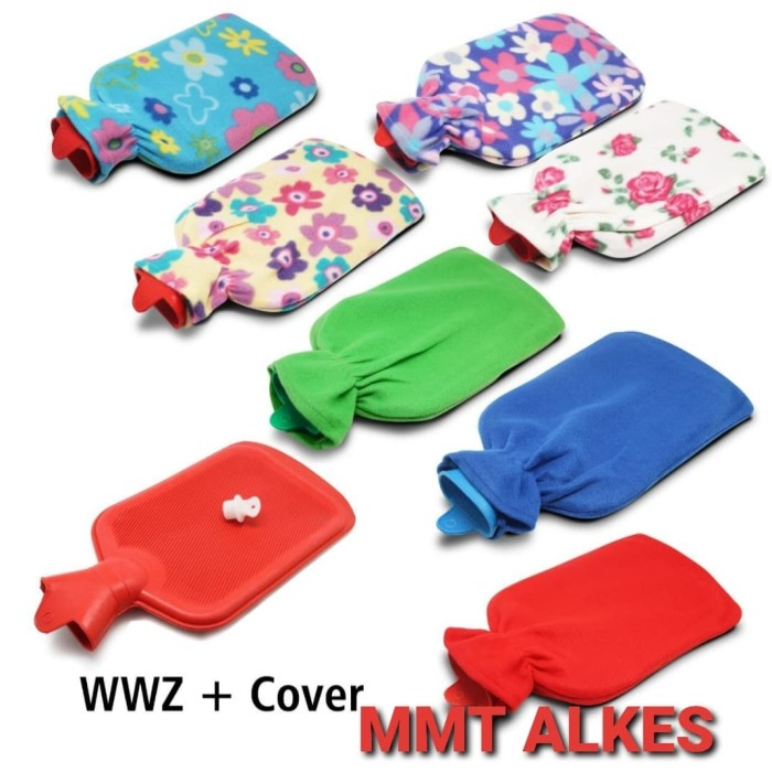 Foto Produk wwz + cover - Bantal Kompres Air Panas Buli Buli Hot Water Bag Warm Wa dari MMTAlkes