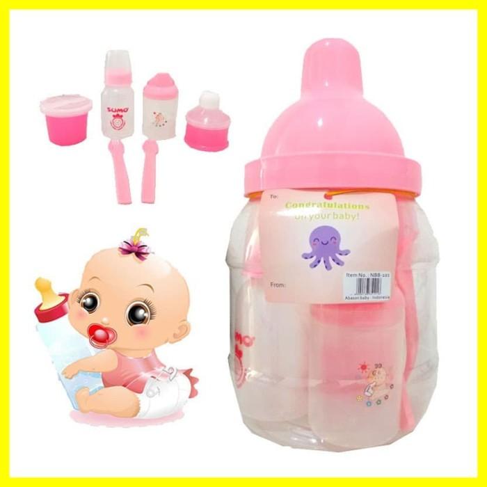 Foto Produk Kado Hadiah Perlengkapan Makan Bayi Baby Gift Set Botol Susu Dot Pink dari Iyesh Online Store