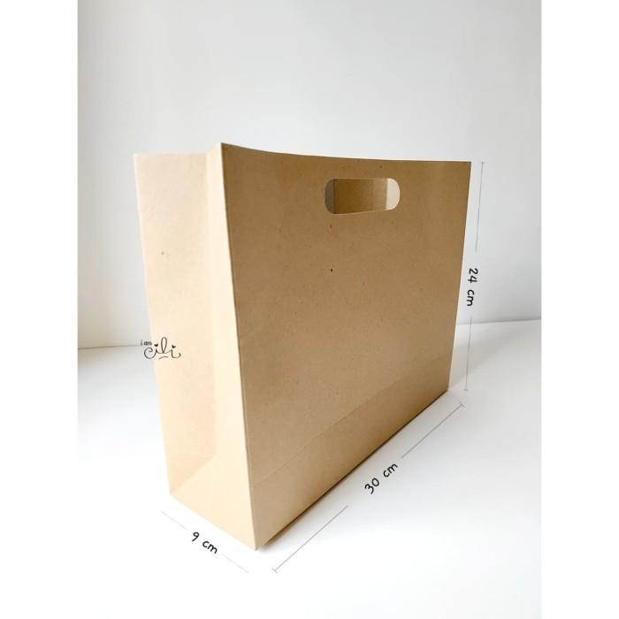 Foto Produk (pprbag coklat 30x9x24) tas kertas polos coklat fashion [isi 10 buah] dari i am CiLi