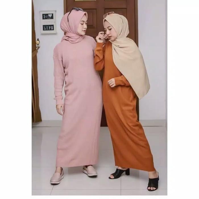 Jual Baju Gamis Rajut Wanita Muslim Terbaru Boxy Long Dress Murah Kota Bandung Anfashion1 Tokopedia