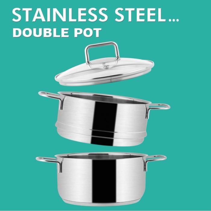 Jual Double Bottom Stainless Steel Pot Food Steamer Pot Set Multi Purpose E Kota Lubuk Linggau Butit Dome Tokopedia