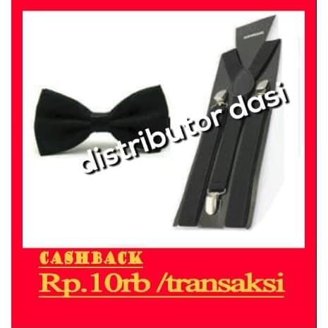 Foto Produk suspender tali kodok capit 3 set dasi kupu kupu hitam distributor dasi dari Distributor Dasi