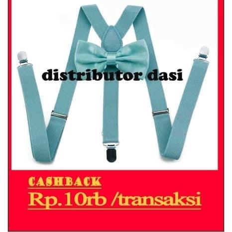 Foto Produk suspender bretel capit 3 set dasi kupu kupu biru muda dusty blue dari Distributor Dasi