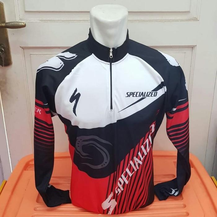 Jual Kaos / Jersey Sepeda Hitam Merah New Panjang