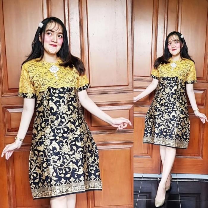 Jual Dress Batik Wanita Dress Batik Kombinasi Brokat Kota Pekalongan Sahfa Batik Pekalongan Tokopedia
