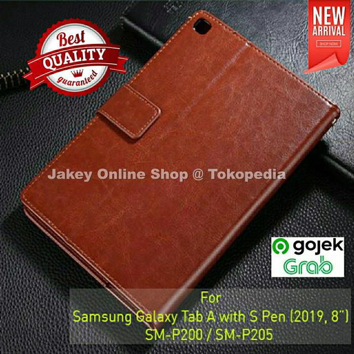 "Foto Produk Samsung Galaxy Tab A 8.0"" 2019 S Pen P200 P205 FLIP COVER WALLET case - Hitam dari Jakey Online Shop"