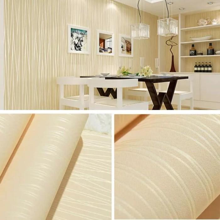 Foto Produk Polos soft yellow tekstur serat 45 cm x 10 mtr || Wallpaper dinding dari dedengkot wallpaper
