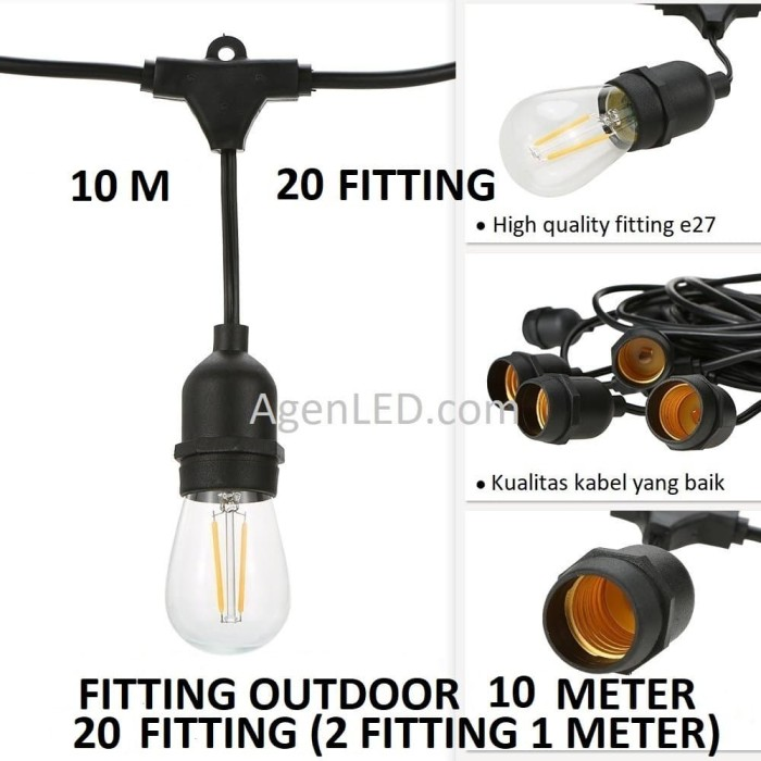 Foto Produk FITTING LAMPU OUTDOOR 20 FITTING 10M E27 10 M fiting kabel 10 METER F4 dari AgenLED