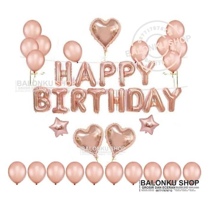 Jual Paket Dekorasi Balon Ulang Tahun Balon Happy Birthday Set Rose Gold Kota Tangerang Selatan Balonku Shop Tokopedia