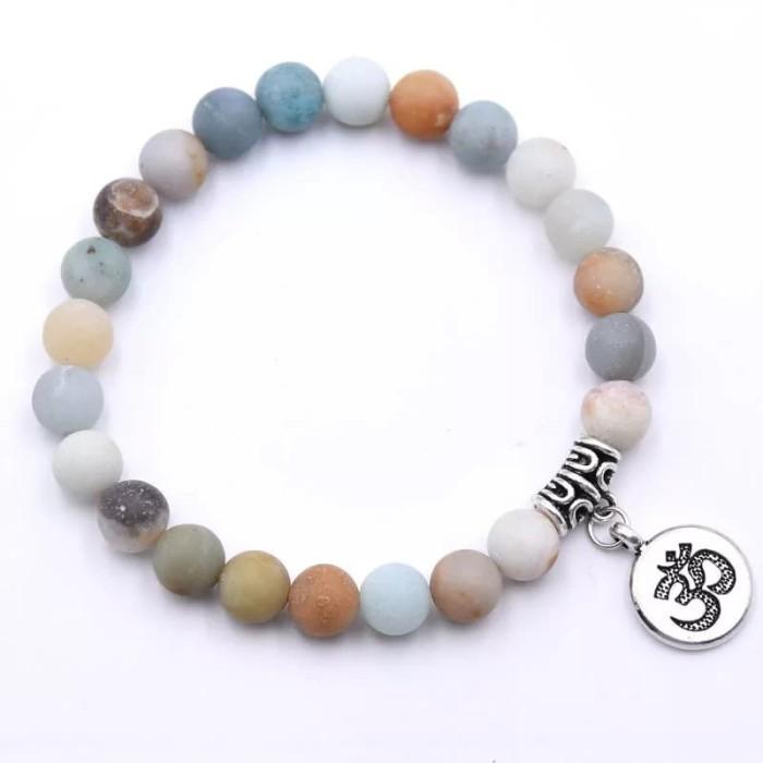 Foto Produk Gelang Meditasi Cakra Chakra Yoga Batu Akik Amazonite ASLI Alam dari Riza Craft