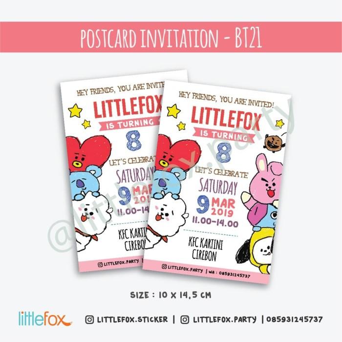 Jual Undangan Ulang Tahun Postcard Invitation Bt21 Character Jakarta Barat Littlefox Party Favors Tokopedia