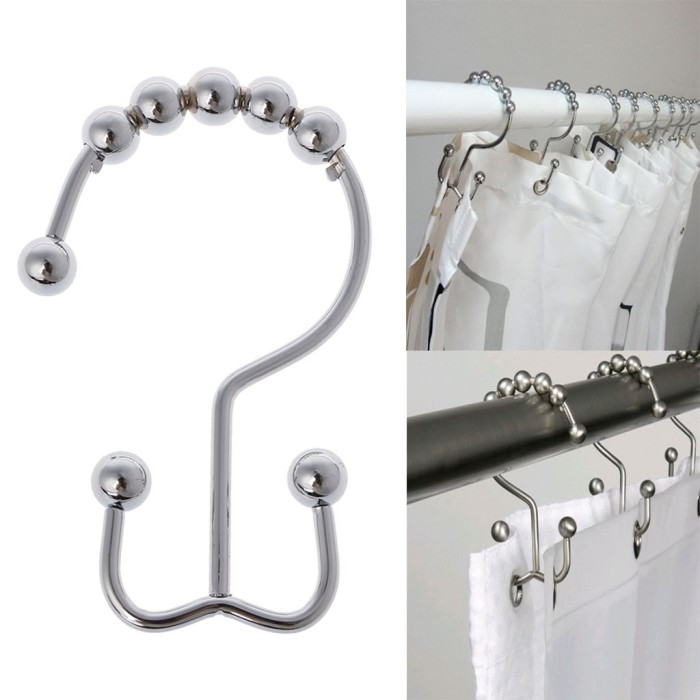 1Pcs Shower Curtain Ring Double Glide Hooks Stainless Steel Bathroom Roller