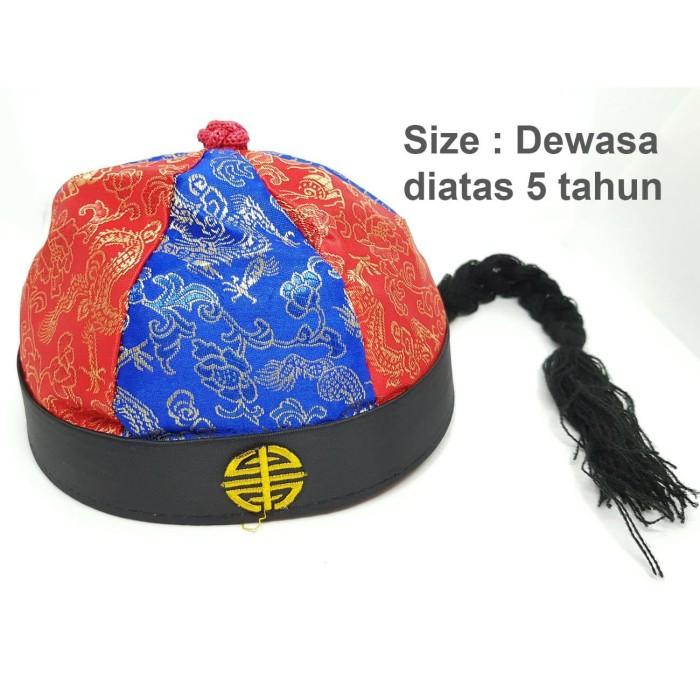 Foto Produk Topi Imlek Biru Merah Dewasa Cheongsam Naga Ekor Rambut Sincia Cina Mu dari Corry