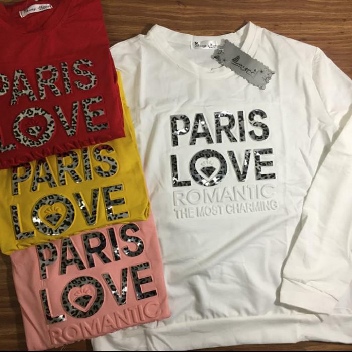 Foto Produk KAOS WANITA TANGAN PANJANG IMPORT PARIS LOVE/SWEATER PARIS LOVE IMPORT - Merah dari ChooseMee