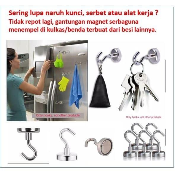 Foto Produk Gantungan Kunci Magnet Neodymium Hook Dapur Kulkas dari Kreatif.Banten