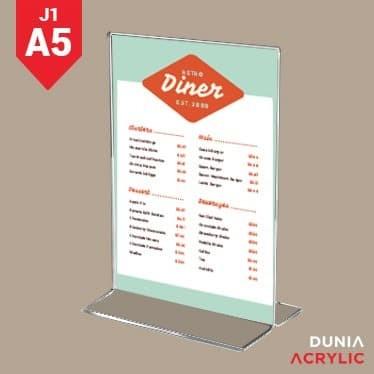 Jual tempat brosur / Display Menu / nomor meja acrylic A5