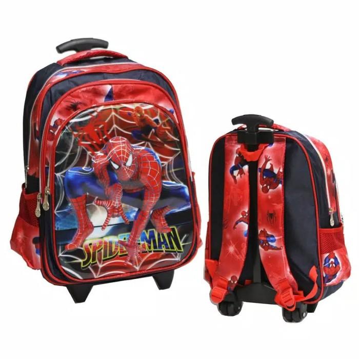 Foto Produk Tas Troli Anak sekolah SD Trolley spiderman 5D jaring laba 3kantong dari chibita