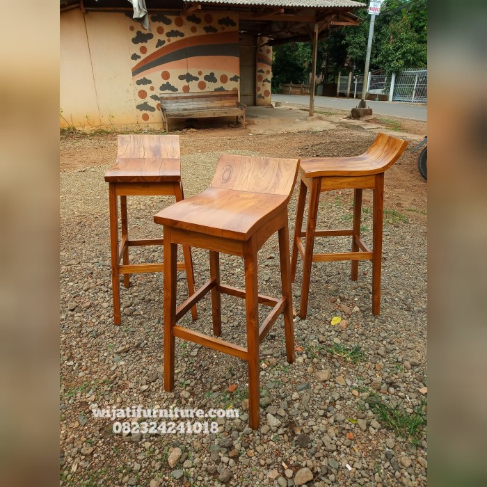 Jual Kursi Bar Tinggi Kayu Jati Sandaran Pendek Kursi Cafe Bar Kopi Tinggi Kab Jepara Wijati Furniture Tokopedia