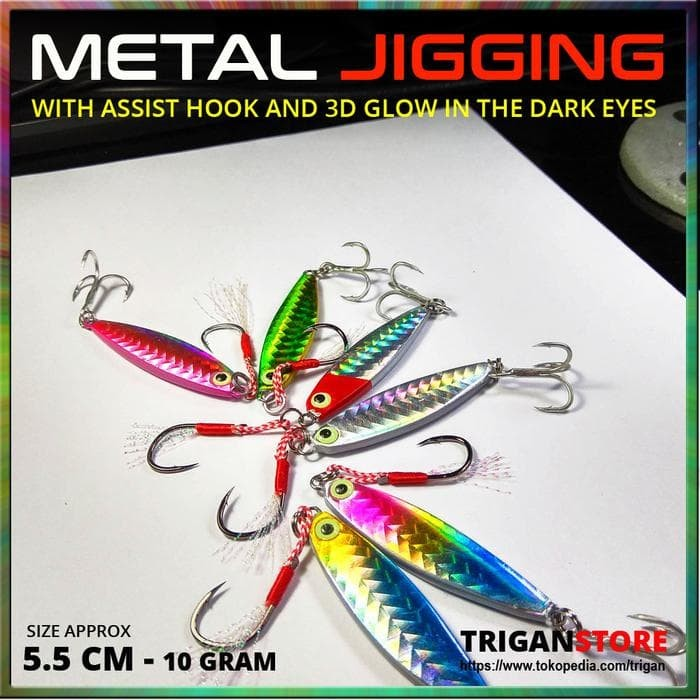 Foto Produk Umpan Metal Jig With Assist Hook Glow Eye 10 Gram Pancing Jigging dari veronica renatta