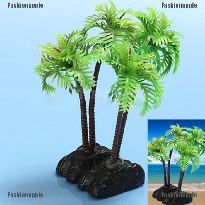 Jual Unik Hiasan Akuarium Ornamen Tanaman Bentuk Pohon Kelapa
