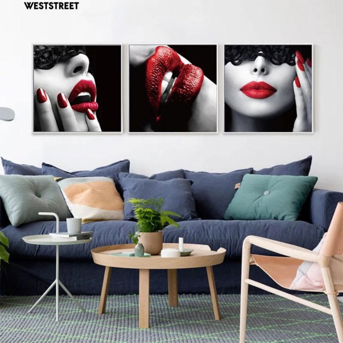 Jual Weststreet Paint 3pcs Canvas Painting Red Wall Art Living Room Kab Bogor Jerryleo Tokopedia
