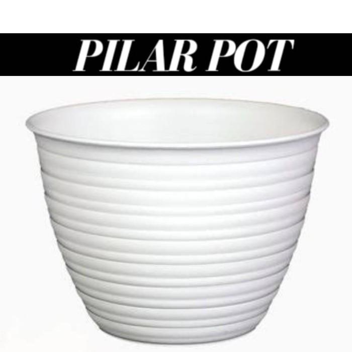 Foto Produk pot bunga motif tawon PUTIH 24cm - Putih dari pilar pot