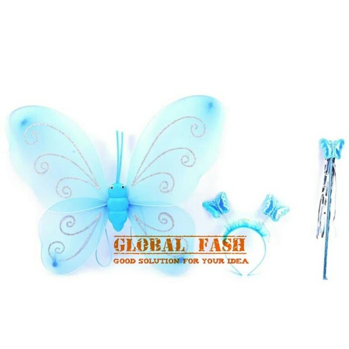 Foto Produk set mahkota peri biru / sayap kupu kupu / sayap peri / fairy crown dari Global Fash