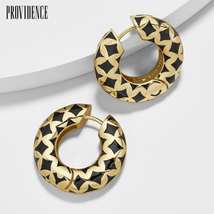 Foto Produk (in stock)1Pc Carved Geometric Pattern Block Enamel Huggie Earring dari TOOP99