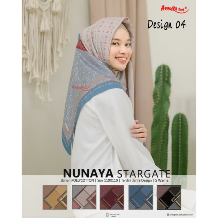 Foto Produk Hijab Jilbab Kerudung Segiempat NUNAYA STARGATE Motif 4 by Azzura dari Non's Hijab Fashion