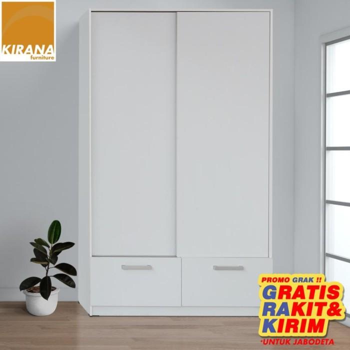 Foto Produk Kirana Lemari Pakaian 2 Pintu Sliding - Omaha - Putih dari KiranaFurniture