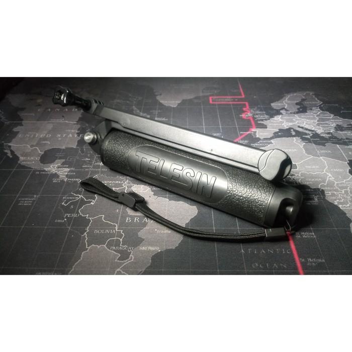 Foto Produk Grip 3 Way Go Pro TELESIN Black Tripod Tongsis Monopod GoPro 3way Arm dari Base