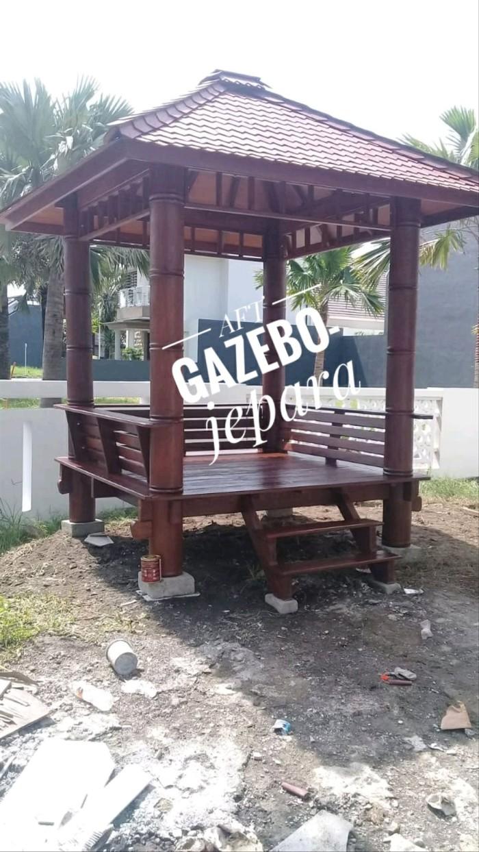Jual Gazebo 2x2m Pilar Model Bambu Minimalis Kursi Outdor Jakarta Barat Riko Store 21