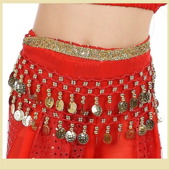 Belly Dancing Hip Scarf Skirt  Wrap Belt Blue Silver MT