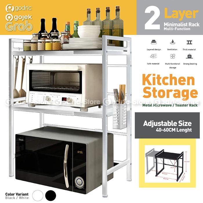 Foto Produk Rak Meja Dapur Stainless 2LYR Rack Rice Cooker Oven Microwave (ADJUST) - WHITE dari Godric Store