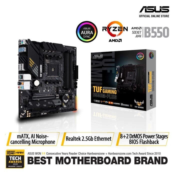 Foto Produk ASUS TUF Gaming B550M-Plus AMD AM4 B550 Micro ATX Gaming Motherboard dari Asus Component