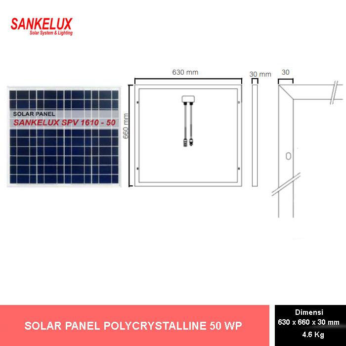 Foto Produk SOLAR PANEL POLY 50 WP (12 V) - SPV 1610-50 dari SANKELUX ONLINE STORE