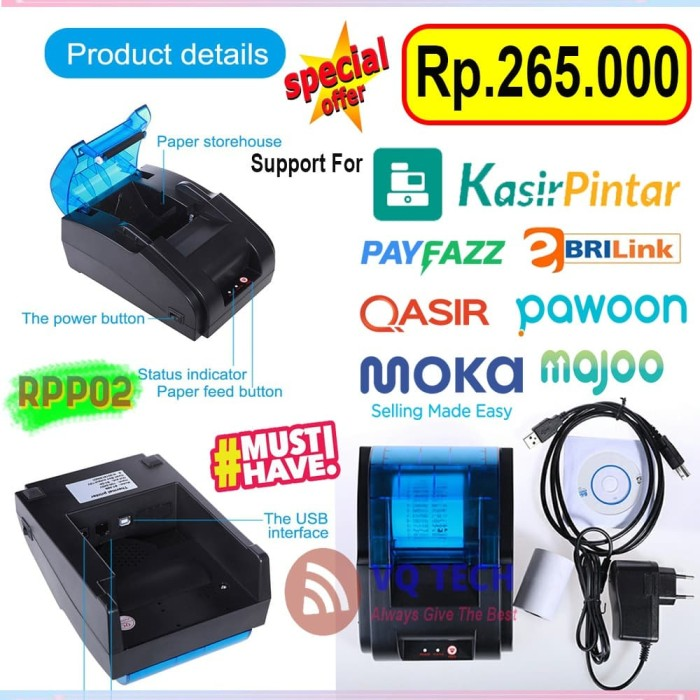 Foto Produk Mini Thermal Printer Bluetooth EPPOS EP-RPP02 58mm Support Mokapos dari VQ TECHNOLOGY
