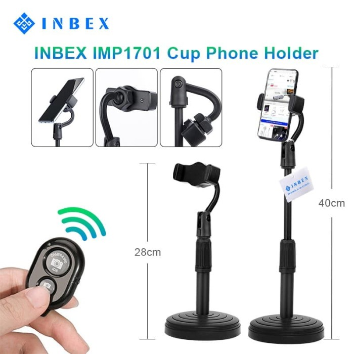 Foto Produk INBEX IMP1701 Cup Phone Holder/Multi-Function Phone Stander - Hitam dari INBEX Official Store